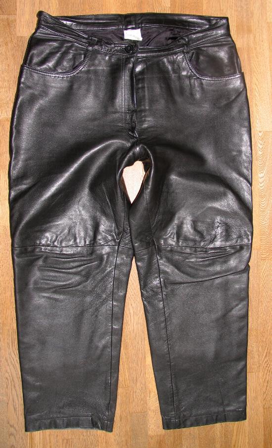 echt starke damen lederjeans lederhose in schwarz kurze gr 46 ebay. Black Bedroom Furniture Sets. Home Design Ideas