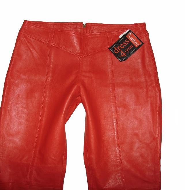 h ftige dress 4 you damen lederhose mit po zipper in leuchtendem rot gr 46 ebay. Black Bedroom Furniture Sets. Home Design Ideas
